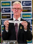 26 June 2020; Chairman of the Leinster Council of the GAA Pat Teehan draws Westmeath / Dublin for their round during the Leinster Football Championship Draw at Leinster Council offices on Mountmellick Road in Portlaoise, Laois. The GAA have announced that inter-county fixtures will resume with the final rounds of the Allianz Leagues on 17/18 October and the Munster and Leinster Hurling Championships on 24/25 October and Provincial Football Championships on weekend of 31October/1 November culminating with the All-Ireland Senior Hurling and Football Finals in December. On March 25, the GAA announced the cessation of all GAA activities and closures of all GAA facilities under their jurisdiction upon directives from the Irish Government in an effort to contain the Coronavirus (COVID-19) pandemic. Photo by Brendan Moran/Sportsfile