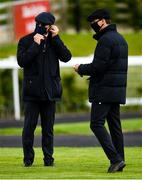27 June 2020; Trainers Aidan O'Brien, left, and Joseph O'Brien in the parade ring prior to the Dubai Duty Free The Irish Village Irish EBF Maiden during day two of the Dubai Duty Free Irish Derby Festival at The Curragh Racecourse in Kildare. Horse Racing continues behind closed doors following strict protocols having been suspended from March 25 due to the Irish Government's efforts to contain the spread of the Coronavirus (COVID-19) pandemic. Photo by Seb Daly/Sportsfile