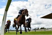 27 June 2020; Buckhurst, with Wayne Lordan up, on their way to winning the Dubai Duty Free Jumeirah Creekside Hotel Alleged Stakes during day two of the Dubai Duty Free Irish Derby Festival at The Curragh Racecourse in Kildare. Horse Racing continues behind closed doors following strict protocols having been suspended from March 25 due to the Irish Government's efforts to contain the spread of the Coronavirus (COVID-19) pandemic. Photo by Seb Daly/Sportsfile