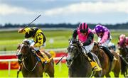 27 June 2020; Big Gossey, right, with Michael Hussey up, races alongside eventual third place Taggalo, left, with Conor Hoban up, on their way to winning the Dubai Duty Free Tennis Championships Handicap during day two of the Dubai Duty Free Irish Derby Festival at The Curragh Racecourse in Kildare. Horse Racing continues behind closed doors following strict protocols having been suspended from March 25 due to the Irish Government's efforts to contain the spread of the Coronavirus (COVID-19) pandemic. Photo by Seb Daly/Sportsfile