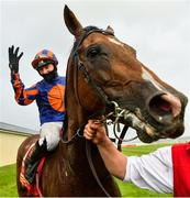 27 June 2020; Jockey Seamie Heffernan after winning the Dubai Duty Free Irish Derby on Santiago during day two of the Dubai Duty Free Irish Derby Festival at The Curragh Racecourse in Kildare. Horse Racing continues behind closed doors following strict protocols having been suspended from March 25 due to the Irish Government's efforts to contain the spread of the Coronavirus (COVID-19) pandemic. Photo by Seb Daly/Sportsfile
