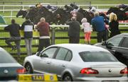 27 June 2020; Runners and riders are cheered on by members of the public during the Dubai Duty Free Irish Derby during day two of the Dubai Duty Free Irish Derby Festival at The Curragh Racecourse in Kildare. Horse Racing continues behind closed doors following strict protocols having been suspended from March 25 due to the Irish Government's efforts to contain the spread of the Coronavirus (COVID-19) pandemic. Photo by Harry Murphy/Sportsfile