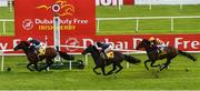 27 June 2020; Buckhurst, left, with Wayne Lordan up, crosses the line ahead of second place Sir Dragonet, centre, with Seamie Heffernan up, and third place Numerian, right, with Declan McDonogh up, on their way to winning the Dubai Duty Free Jumeirah Creekside Hotel Alleged Stakes during day two of the Dubai Duty Free Irish Derby Festival at The Curragh Racecourse in Kildare. Horse Racing continues behind closed doors following strict protocols having been suspended from March 25 due to the Irish Government's efforts to contain the spread of the Coronavirus (COVID-19) pandemic. Photo by Seb Daly/Sportsfile