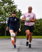 28 June 2020; Rory O'Connor of Rory Stories with Meath ladies football captain Máire O'Shaughnessy during the Solo For Livie Challenge in Ashbourne, Meath. The fundraising event is in support of 9 month old Livie Mulhern, from Balrath in Meath. Livie has been diagnosed with a rare and serious genetic neuromuscular condition called spinal muscular atrophy (SMA) type 1. SMA is caused by a gene deletion which results in deterioration of Livie's nerve cells connecting her brain and spinal cord to her body's muscles. The money raised from the event will be put towards a once-off gene therapy called Zolgensma, which is currently only available in the USA. It is the worlds most expensive treatment at a cost of $2,100,000. Photo by Ramsey Cardy/Sportsfile