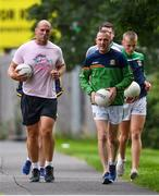 28 June 2020; Rory O'Connor of Rory Stories with Meath football manager Andy McEntee during the Solo For Livie Challenge in Ashbourne, Meath. The fundraising event is in support of 9 month old Livie Mulhern, from Balrath in Meath. Livie has been diagnosed with a rare and serious genetic neuromuscular condition called spinal muscular atrophy (SMA) type 1. SMA is caused by a gene deletion which results in deterioration of Livie's nerve cells connecting her brain and spinal cord to her body's muscles. The money raised from the event will be put towards a once-off gene therapy called Zolgensma, which is currently only available in the USA. It is the worlds most expensive treatment at a cost of $2,100,000. Photo by Ramsey Cardy/Sportsfile