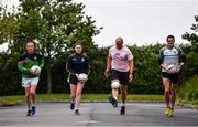 28 June 2020; Rory O'Connor of Rory Stories with, from left, Meath football manager Andy McEntee, Meath ladies football captain Máire O'Shaughnessy, and Meath mens football captain Bryan Menton during the Solo For Livie Challenge in Ashbourne, Meath. The fundraising event is in support of 9 month old Livie Mulhern, from Balrath in Meath. Livie has been diagnosed with a rare and serious genetic neuromuscular condition called spinal muscular atrophy (SMA) type 1. SMA is caused by a gene deletion which results in deterioration of Livie's nerve cells connecting her brain and spinal cord to her body's muscles. The money raised from the event will be put towards a once-off gene therapy called Zolgensma, which is currently only available in the USA. It is the worlds most expensive treatment at a cost of $2,100,000. Photo by Ramsey Cardy/Sportsfile