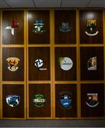 26 June 2020; County crests are seen in the Leinster GAA Council offices on Mountmellick Road in Portlaoise, Laois. Photo by Brendan Moran/Sportsfile
