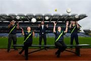 29 June 2020; Pitch Perfect! Tour Guides at the GAA Museum and Tours at Croke Park celebrate their reopening, pictured, from left, Cian Nolan, Paul Cashin, GAA Museum Front of House Manager and former Carlow Football captain, and Siobhan Doyle. The inspiring Stadium Tour, thrilling Skyline Tour and treasured GAA Museum are now open to the public.  With the GAA All-Ireland Senior Championships postponed until October, this is your only chance to visit Croke Park this summer, making them this season's hottest tickets!  For more see www.crokepark.ie/tours. Photo by Ramsey Cardy/Sportsfile