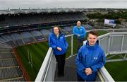 29 June 2020; Tour guides, from right to left, Eoin O'Connor, Cian Nolan and Siobhan Doyle at the Skyline Tour at Croke Park are on a high as they finally open their doors to visitors. The inspiring Stadium Tour, thrilling Skyline Tour and treasured GAA Museum are now open to the public.  With the GAA All-Ireland Senior Championships postponed until October, this is your only chance to visit Croke Park this summer, making them this season's hottest tickets!  For more see www.crokepark.ie/tours. Photo by Ramsey Cardy/Sportsfile