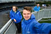 29 June 2020; Tour guides Eoin O'Connor, centre, Siobhan Doyle, left, and Cian Nolan at the Skyline Tour at Croke Park, are on a high as they finally open their doors to visitors. The inspiring Stadium Tour, thrilling Skyline Tour and treasured GAA Museum are now open to the public.  With the GAA All-Ireland Senior Championships postponed until October, this is your only chance to visit Croke Park this summer, making them this season's hottest tickets!  For more see www.crokepark.ie/tours. Photo by Ramsey Cardy/Sportsfile