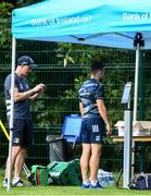 29 June 2020; Rowan Osborne has his temperature checked with Head physiotherapist Garreth Farrell during Leinster rugby squad training at UCD in Dublin. Rugby teams have been approved for return of restricted training under IRFU and the Irish Government's Roadmap for Reopening of Society and Business following strict protocols allowing it to return in a phased manner, having been suspended since March due to the Irish Government's efforts to contain the spread of the Coronavirus (COVID-19) pandemic. Photo by Marcus Ó Buachalla for Leinster Rugby via Sportsfile