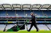 29 June 2020; Groundsman Enda Colfer prepares the Croke Park pitch. The inspiring Stadium Tour, thrilling Skyline Tour and treasured GAA Museum are now open to the public.  With the GAA All-Ireland Senior Championships postponed until October, this is your only chance to visit Croke Park this summer, making them this season's hottest tickets!  For more see www.crokepark.ie/tours. Photo by Ramsey Cardy/Sportsfile