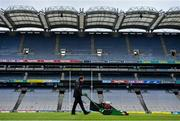 29 June 2020; Deputy head groundsman Colm Daly prepares the Croke Park pitch. The inspiring Stadium Tour, thrilling Skyline Tour and treasured GAA Museum are now open to the public.  With the GAA All-Ireland Senior Championships postponed until October, this is your only chance to visit Croke Park this summer, making them this season's hottest tickets!  For more see www.crokepark.ie/tours. Photo by Ramsey Cardy/Sportsfile