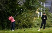 29 June 2020; Leona Maguire tees off from the 3rd tee box watches by Olivia Mehaffey during the Flogas Irish Scratch Series at the Seapoint Golf Club in Termonfeckin, Louth. Photo by Matt Browne/Sportsfile