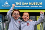 29 June 2020; Twins Thomas and Daniel Gribbin, aged 7, from Castledawson in Derry, celebrate the reopening of the GAA Museum and Tours at Croke Park. The inspiring Stadium Tour, thrilling Skyline Tour and treasured GAA Museum are now open to the public. With the GAA All-Ireland Senior Championships postponed until October, this is your only chance to visit Croke Park this summer, making them this season's hottest tickets! For more see www.crokepark.ie/tours Photo by Sam Barnes/Sportsfile