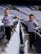 29 June 2020; Twins Thomas, right, and Daniel Gribbin, aged 7 from Castledawson in Derry celebrate the reopening of the GAA Museum and Tours at Croke Park. The inspiring Stadium Tour, thrilling Skyline Tour and treasured GAA Museum are now open to the public. With the GAA All-Ireland Senior Championships postponed until October, this is your only chance to visit Croke Park this summer, making them this season's hottest tickets! For more see www.crokepark.ie/tours Photo by Sam Barnes/Sportsfile