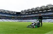 29 June 2020; Deputy head groundsman Colm Daly prepares the Croke Park pitch. The inspiring Stadium Tour, thrilling Skyline Tour and treasured GAA Museum are now open to the public. With the GAA All-Ireland Senior Championships postponed until October, this is your only chance to visit Croke Park this summer, making them this season's hottest tickets! For more see www.crokepark.ie/tours. The inspiring Stadium Tour, thrilling Skyline Tour and treasured GAA Museum are now open to the public. With the GAA All-Ireland Senior Championships postponed until October, this is your only chance to visit Croke Park this summer, making them this season's hottest tickets! For more see www.crokepark.ie/tours. Photo by Sam Barnes/Sportsfile