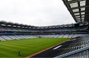 29 June 2020; Groundsman Enda Colfer prepares the Croke Park pitch. The inspiring Stadium Tour, thrilling Skyline Tour and treasured GAA Museum are now open to the public. With the GAA All-Ireland Senior Championships postponed until October, this is your only chance to visit Croke Park this summer, making them this season's hottest tickets! For more see www.crokepark.ie/tours. The inspiring Stadium Tour, thrilling Skyline Tour and treasured GAA Museum are now open to the public. With the GAA All-Ireland Senior Championships postponed until October, this is your only chance to visit Croke Park this summer, making them this season's hottest tickets! For more see www.crokepark.ie/tours. Photo by Sam Barnes/Sportsfile