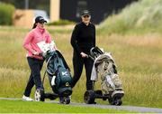 29 June 2020; Leona Maguire and Olivia Mehaffey on the 2nd fairway during the Flogas Irish Scratch Series at the Seapoint Golf Club in Termonfeckin, Louth. Photo by Matt Browne/Sportsfile