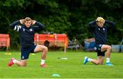 29 June 2020; Jordan Larmour, left, and Jimmy O'Brien during Leinster rugby squad training at UCD in Dublin. Rugby teams have been approved for return of restricted training under IRFU and the Irish Government's Roadmap for Reopening of Society and Business following strict protocols allowing it to return in a phased manner, having been suspended since March due to the Irish Government's efforts to contain the spread of the Coronavirus (COVID-19) pandemic. Photo by Marcus Ó Buachalla for Leinster Rugby via Sportsfile