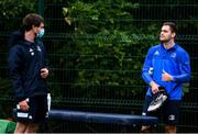 29 June 2020; Senior Rehabilitation physiotherapist Fearghal Kerin, left, and Conor O'Brien during Leinster rugby squad training at UCD in Dublin. Rugby teams have been approved for return of restricted training under IRFU and the Irish Government's Roadmap for Reopening of Society and Business following strict protocols allowing it to return in a phased manner, having been suspended since March due to the Irish Government's efforts to contain the spread of the Coronavirus (COVID-19) pandemic. Photo by Marcus Ó Buachalla for Leinster Rugby via Sportsfile