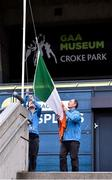 29 June 2020; Tour Guides Ger Gregan, left, and Gerry McGarry, raise the tri-colour outside the reopened GAA Museum at Croke Park. The inspiring Stadium Tour, thrilling Skyline Tour and treasured GAA Museum are now open to the public. With the GAA All-Ireland Senior Championships postponed until October, this is your only chance to visit Croke Park this summer, making them this season's hottest tickets! For more see www.crokepark.ie/tours. Photo by Sam Barnes/Sportsfile