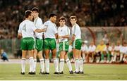 30 June 1990; Republic of Ireland captain Mick McCarthy, left, organises a defensive wall of team-mates Niall Quinn Paul McGrath, Ray Houghton and Kevin Sheedy during the FIFA World Cup 1990 Quarter-Final match between Italy and Republic of Ireland at the Stadio Olimpico in Rome, Italy. Photo by Ray McManus/Sportsfile