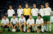 30 June 1990; The Republic of Ireland team, back row from left, Kevin Moran, Paul McGrath, Packie Bonner, Mick McCarthy, Andy Townsend, Steve Staunton, with, front from left, John Aldridge, Niall Quinn, Kevin Sheedy, Chris Morris and Ray Houghton prior to the FIFA World Cup 1990 Quarter-Final match between Italy and Republic of Ireland at the Stadio Olimpico in Rome, Italy. Photo by Ray McManus/Sportsfile