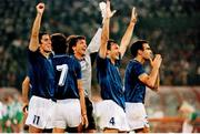 30 June 1990; Italy players, from left, Fernando Di Napoli, Paolo Maldini, Walter Zenga, Luigi Di Agostini and Giuseppe Bergomi celebrate after the FIFA World Cup 1990 Quarter-Final match between Italy and Republic of Ireland at the Stadio Olimpico in Rome, Italy. Photo by Ray McManus/Sportsfile
