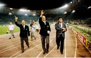30 June 1990; Republic of Ireland manager Jack Charlton and assistant Maurice Setters, left, waves to supporters after the FIFA World Cup 1990 Quarter-Final match between Italy and Republic of Ireland at the Stadio Olimpico in Rome, Italy. Photo by Ray McManus/Sportsfile