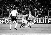 30 June 1990; Salvatore Schillaci of Italy in action against Ray Houghton of Republic of Ireland during the FIFA World Cup 1990 Quarter-Final match between Italy and Republic of Ireland at the Stadio Olimpico in Rome, Italy. Photo by Ray McManus/Sportsfile