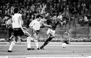 30 June 1990; Luigi Di Agostini of Italy in action against Ray Houghton of Republic of Ireland during the FIFA World Cup 1990 Quarter-Final match between Italy and Republic of Ireland at the Stadio Olimpico in Rome, Italy. Photo by Ray McManus/Sportsfile