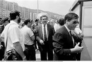 25 June 1990; Match ticket officials prior to the FIFA World Cup 1990 Round of 16 match between Republic of Ireland and Romania at the Stadio Luigi Ferraris in Genoa, Italy. Photo by Ray McManus/Sportsfile