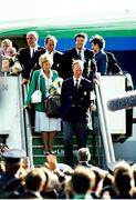 1 July 1990; Republic of Ireland manager Jack Charlton makes his way down the steps of the aircraft on his squad's arrival home for a homecoming reception after their participation in the 1990 FIFA World Cup Finals in Italy. Photo by Ray McManus/Sportsfile