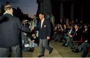 1 July 1990; Paul McGrath of Republic of Ireland is introduced by manager Jack Charlton during a homecoming reception on College Green in Dublin after their participation in the 1990 FIFA World Cup Finals in Italy. Photo by Ray McManus/Sportsfile