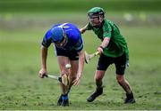 30 June 2020; Colm DeBarra of St Sylvester's in action against Niall O'Connor of St Patrick's Donabate during the Junior B Hurling Challenge game between St Sylvester's and St Patrick's Donabate at Malahide Castle Pitches in Dublin. Photo by Piaras Ó Mídheach/Sportsfile