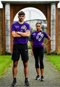 1 July 2020; Irish International athletes, Andrew Coscoran, left, and Nadia Power, in attendance at the launch of the Irish Life Health Mile Challenge at Santry Park in Dublin. The weeklong challenge to find out the fittest and most active club and county starts on 17th August. This marks the 35th anniversary of Ireland's top milers setting a 4x1-mile relay world record. Finishing on 23rd of August when Ireland's top athletes will also take to the track to compete for national titles at the Irish Life Health Track and Field Championships. Photo by Sam Barnes/Sportsfile