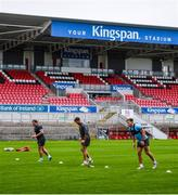 2 July 2020; Ulster players, from right, David O'Connor, Alan O'Connor and Eric O'Sulllivan during Ulster Rugby squad training at Kingspan Stadium in Belfast. Photo by Robyn McMurray for Ulster Rugby via Sportsfile