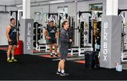 2 July 2020; Senior Athletic Performance Coach David Drake speaks with Nick Timoney, left, and Jordi Murphy during an Ulster Rugby gym session at Kingspan Stadium in Belfast. Photo by Robyn McMurray for Ulster Rugby via Sportsfile