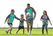 3 July 2020; Former Donegal GAA star and TG4 Cúl Camps TV show coach, Kevin Cassidy was on hand, with his children Aoife, Nia and Fionn, to launch the Kellogg's GAA Cúl Camps on-pack competition. Kellogg, now in its ninth year sponsoring the Kellogg's GAA Cúl Camps, has launched the nationwide on-pack promotion for all GAA clubs across the country to be in with a chance to win prizes worth €40,000 - their biggest on-pack prize offering ever. For more information, go to kelloggsculcamps.gaa.ie/competition. Photo by Sam Barnes/Sportsfile