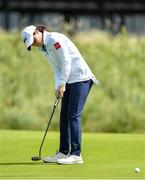 6 July 2020; Leona Maguire watches her putt on the 9th green during the Flogas Irish Scratch Series at the Seapoint Golf Club in Termonfeckin, Louth. Photo by Seb Daly/Sportsfile