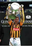8 July 2001; Kilkenny captain, Denis Byrne lifts the Bob O'Keefe cup after defeating Wexford. Kilkenny v Wexford, Leinster Senior Hurling Championship Final, Croke Park, Dublin. Photo by Brendan Moran/Sportsfile