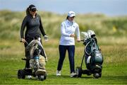6 July 2020; Olivia Mehaffey, left, and Leona Maguire in conversation as they walk down the 10th fairway during the Flogas Irish Scratch Series at the Seapoint Golf Club in Termonfeckin, Louth. Photo by Seb Daly/Sportsfile