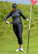 6 July 2020; Olivia Mehaffey reacts after missing a putt on the 9th green during the Flogas Irish Scratch Series at the Seapoint Golf Club in Termonfeckin, Louth. Photo by Seb Daly/Sportsfile