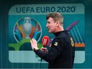 8 July 2020; Republic of Ireland manager Stephen Kenny during an interview with Newstalk at a press conference at FAI Headquarters in Abbotstown, Dublin. Photo by Stephen McCarthy/Sportsfile