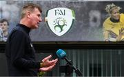 8 July 2020; Republic of Ireland manager Stephen Kenny during a press conference at FAI Headquarters in Abbotstown, Dublin. Photo by Stephen McCarthy/Sportsfile