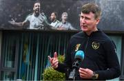 8 July 2020; Republic of Ireland manager Stephen Kenny speaking to RTÉ during a press conference at FAI Headquarters in Abbotstown, Dublin. Photo by Stephen McCarthy/Sportsfile
