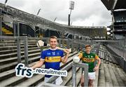 15 July 2020; Tipperary hurler John McGrath, left, and Kerry footballer Tommy Walsh in attendance as FRS Recruitment announce GAAGO Sponsorship at Croke Park in Dublin. Photo by David Fitzgerald/Sportsfile