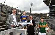 15 July 2020; In attendance, from left are, General Manager of FRS Recruitment Colin Donnery, Tipperary hurler John McGrath, Commercial Director of the GAA and Kerry footballer Tommy Walsh as FRS Recruitment announce GAAGO Sponsorship at Croke Park in Dublin. Photo by David Fitzgerald/Sportsfile