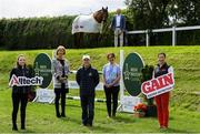 9 July 2020; Ronan Murphy, CEO of Horse Sport Ireland, centre, with, from left, Katie Maegan from Alltech, Sharon Fitzpatrick and Liz Brennan from the IBC committee, International rider Ger O'Neill, with Corgie, and Joanne Hurley from GAIN, in attendance during the launch of The Irish Breeders Classic at the Barnadown Equestrian Centre in Gorey, Wexford. Photo by Matt Browne/Sportsfile